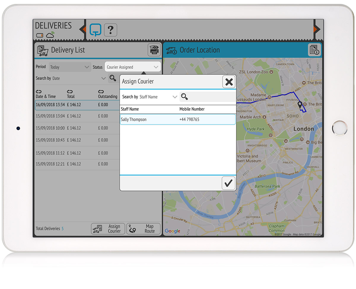 tillpoint epos delivery management assigning staff as couriers