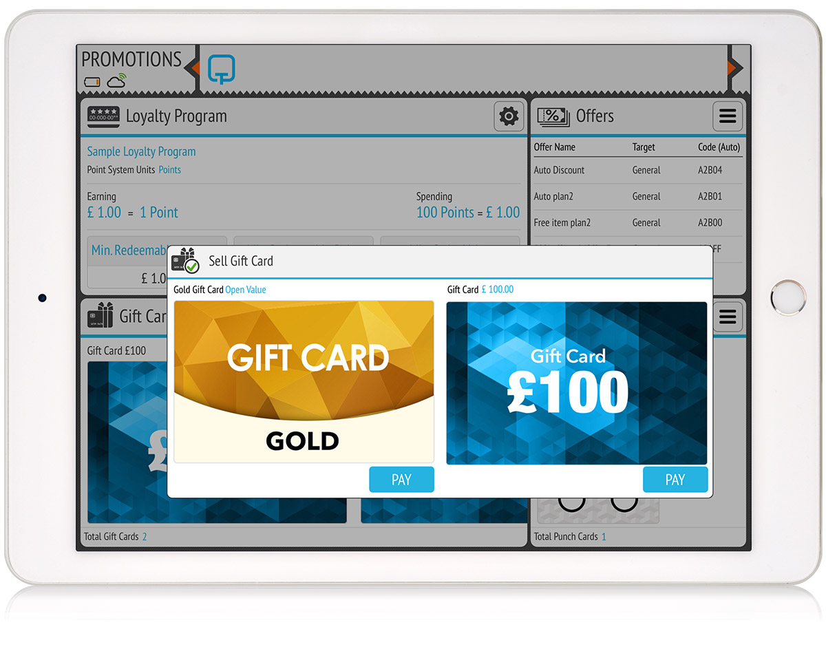 tillpoint epos promotions gift cards
