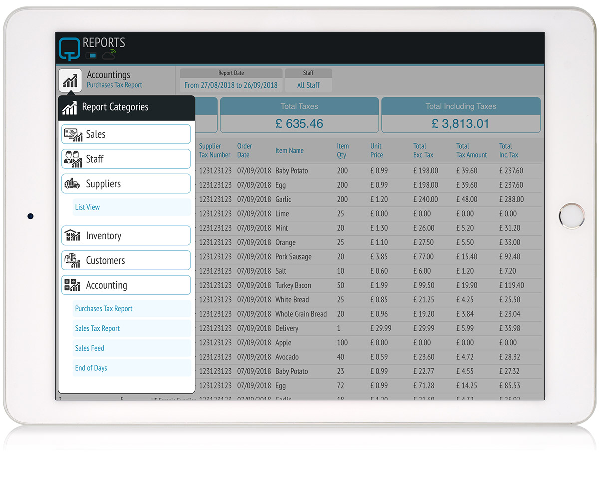 tillpoint epos report supplier purchase